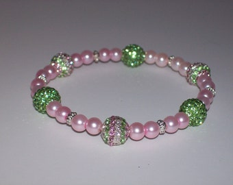 Lovely Pink and Green Beaded Stretch Bracelet