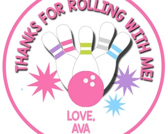 Bowling Girl Digital Favor Tags