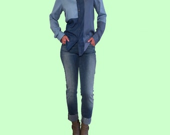 Western Style Denim Design ColorBlock Shirt