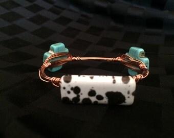 Teal/Black n' White Wire-Wrapped Bracelet