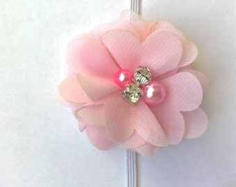 Light pink pearl and rhinestone baby headband, baby pink headband, pink headband