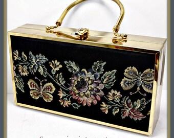 Vintage Lou Taylor Box Purse, Vintage Box Purse, Vintage Lou Taylor Handbag, Vintage Handbag, Vintage Lou Taylor Pocketbook, Vintage Purse