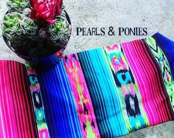 Pearls & Ponies {Blame it on Mexico} Serape Print headband. Neon Spandex blend. Serape headband. Exercise headband