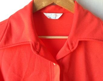 Plus size vintage orange polyester oxford blouse