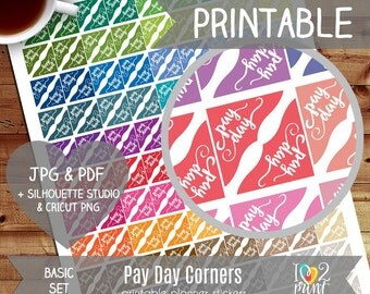 Pay Day Corners Printable Planner Stickers, Erin Condren Planner Stickers, EC Printable Stickers, Pay Day Stickers - CUT FILES
