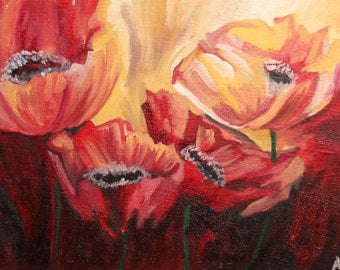 Vintage impressionist floral oil painting poppies signed