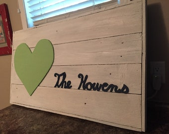 Custom barnwood wedding guestbook.