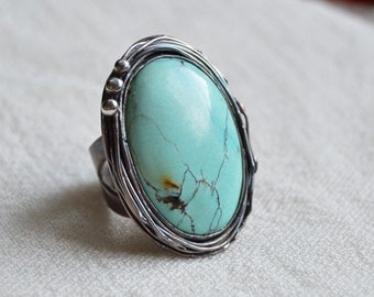 Turquoise Stone Ring, Big stoned oxidized ring, metalsmith, unique statement ring, Sterling silver handmade turquoise jewelry, one of a kind