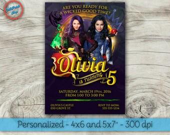 Descendants invitations, Descendants birthday invitation, Disney Descendants invitation, Descendants printable invitation.