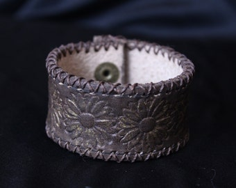 Brown Leather Cuff Bracelet Hand Stiched with Tooled Flower Pattern