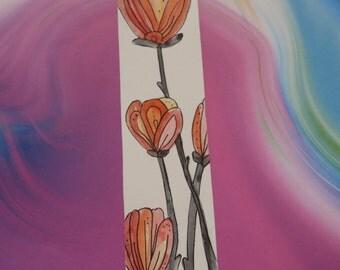 Flower- Bookmark - Illustration - Pen and Ink