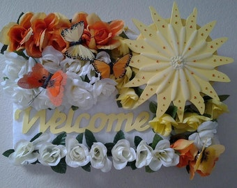 Welcome rectangle wreath - Welcome home - welcome home decor - Wall decor welcome home