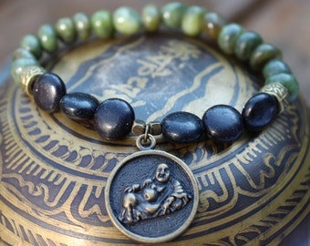 Green Jasper and Black Stone Stretch Bracelet with Bronze Buddha Charm, Buddhism Meditation Bracelet, Meditation Stone Bracelet, Yoga Gift