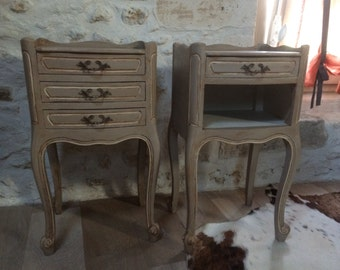 Pair of nightstands style Louis XV gray aged patina Mole