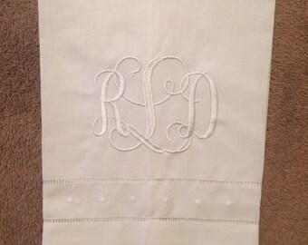 Linen Guest Towel, custom, monogram embroidery