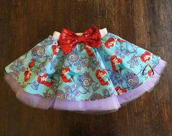 princess skirt - toddler skirt - ariel skirt - little mermaid skirt - circle skirt - birthday skirt