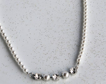 Elegant White Pearl Necklace featuring Swarovski Crystals And Swarovski White Pearls