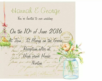 Postcard Wedding invitations with glass jar flowers and birdcage. Personalised with your details