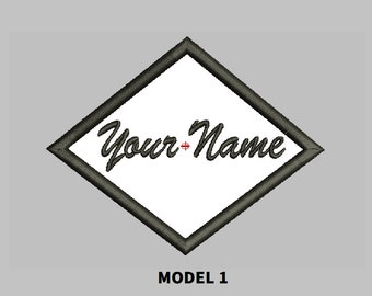 Custom Embroidered Name Patch Diamond Shape Sew on patch Quality Badge