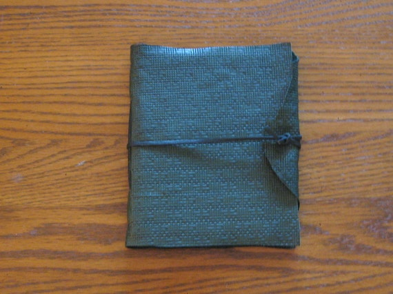 Forest Green Basket Weave Leather Journal
