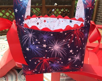 4th of July, Fireworks Basket, Fourth of July Basket, Americana Decor,  Hostess Gift,  4th of July Party, Storage and Organization