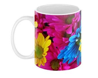 COLORFUL DAISIES Ceramic Coffee Mug - 110z.