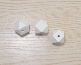 20pcs Polygonal White Beads,Faceted Cube Wooden Beads,Geometric Wood Beads Octagonal 20mm-Painted Wood Beads,Hexagon,Modern Necklace 17#