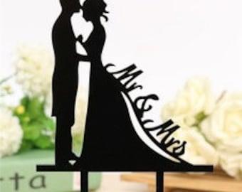 Bride Groom Silhouette Cake Topper