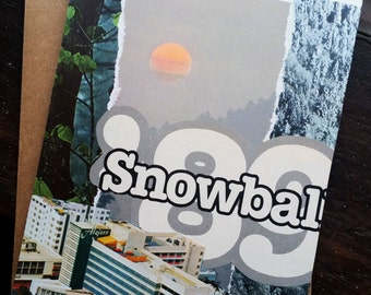 "Original Collage Greeting Card ""Snowball '89"" - Mixed Media"