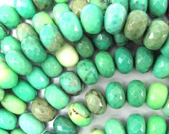 "10mm faceted green chrysoprase rondelle beads 7.5"" strand 35036"