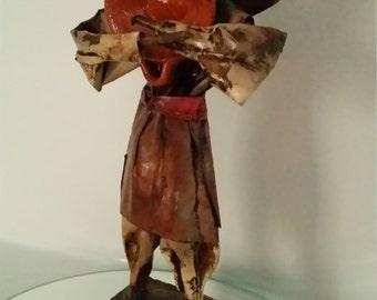 Vintage 1960's Handmade Mexican Paper Mache Folk Art Peasant Man