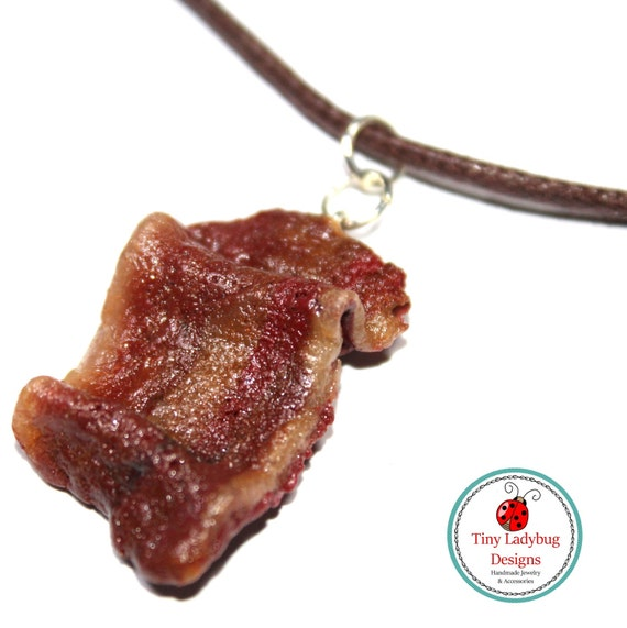 polymer clay bacon charm