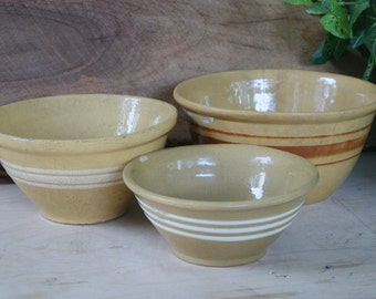 Antique Yellowware Mixing Bowls -Graduated Set of 3 Brown and White Triple Strip