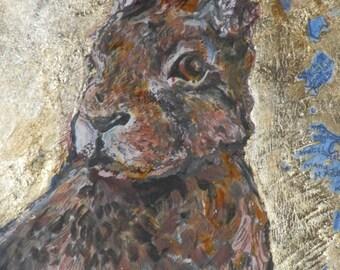 The Golden Hare original painting mixed media naiive