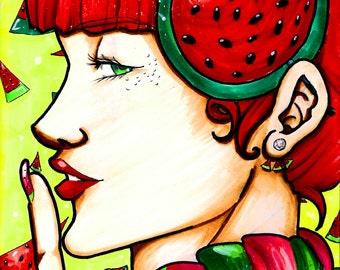 Beautiful Pop Stylized Watermelon Woman Original Art Print