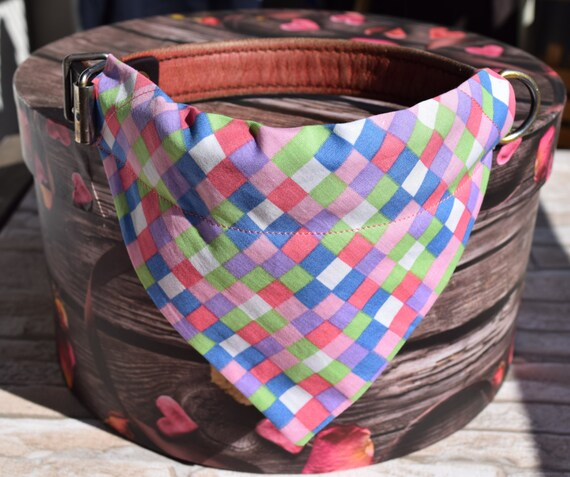 "Bandana ""Lilac Chequered"" Bandanas for small or medium sized dogs cats"