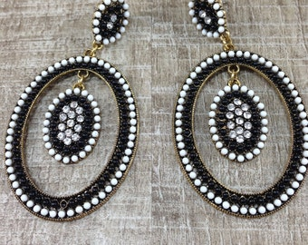 Pierced Earring  Dangle Rhinestone Black White Oval Hoop Statement