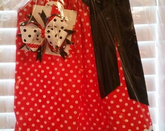 Handmade Red with White polka dot pillowcase dress size 2T