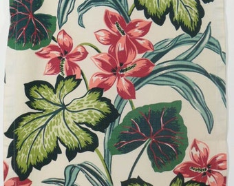 Cotton Bark Cloth Fabric Panel 1940s Tropical Leaves Print Graphic Design Material