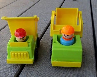 Vintage Fisher Price Little People Construction Truck Set