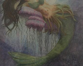 Original watercolor mermaid print 11x15