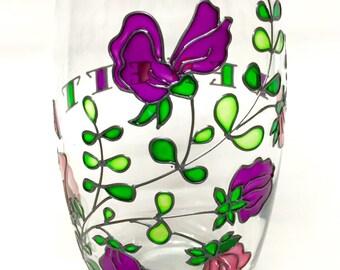 Squash/Juice Glass, Hand Painted, Persinalised, *Sweet Peas*