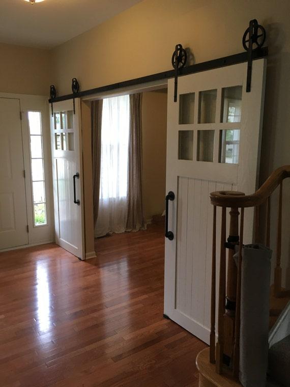 Modern White glass pane sliding barn door | 6 pane, vintage, Industrial, Contemporary