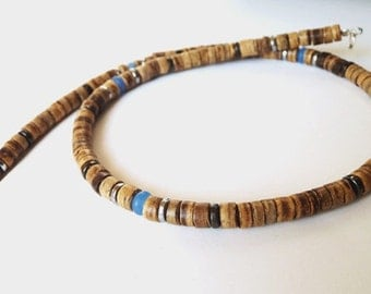 Mens Necklace - Necklace for Men - Handcrafted Gemstone Necklace - Wood, Coconut, Jade,Hematite,Silver 925 - MiTTi - Tribal Chic Jewelry