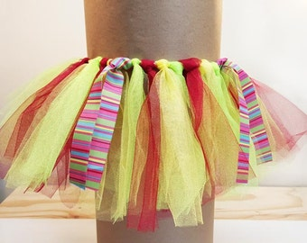 Handmade Red Wine, Yellow Maize and Apple Green Tulle Tutu with Rainbow Pattern Ribbon