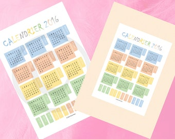 calendar for the year 2016 in digital format