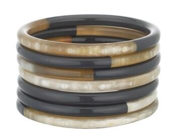 Set Of 7 Bangle Horn Lacquer Bracelet Handmade Jewelry VT030