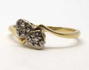 Entwined Hearts Diamond Ring 18ct   Size K 1/4 (UK) 5.5 (US)   Free Sizing / Shipping