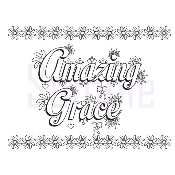 Words amazing grace adult coloring page by sueathcs on etsy for Grace coloring page