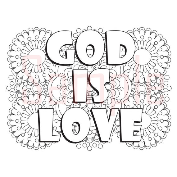 Words God Is Love Adult Coloring Page By SueAtHCS On Etsy